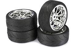 1/10th 9 Spoke Wheels & Tyres (S) - 2510011