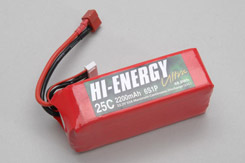 Hi-Energy 6S 2200mAh 25C Li-Po - o-he6s1p220025a
