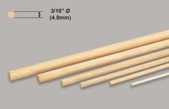 Balsa Dowel 3/16inch X 36inch - w-bd050-10