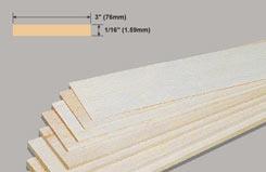 Balsa Sheet 1/16 X 3 X 36 - w-bw31-10