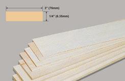 Balsa Sheet 1/4 X 3 X 36 - w-bw35-10