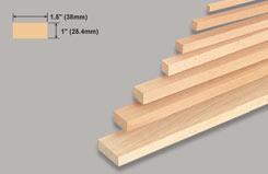 Block Balsa 1 X 1 1/2 X 36 - w-l121