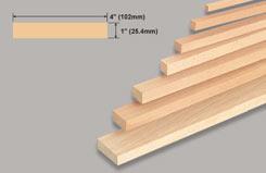 Block Balsa 1 X 4 X 36 - w-l125