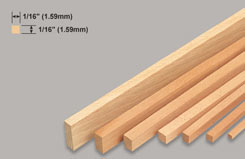 Strip Balsa 1/16 X 1/16 X 3 - w-l220-10
