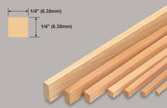Strip Balsa 1/4 X 1/4 X 36 - w-l260-10