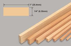 Strip Balsa 1/4 X 1 X 36 - w-l263-10
