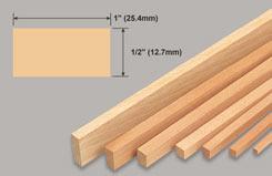 Strip Balsa 1/2 X 1 X 36 - w-l281-10